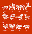 chinese zodiac signs with designation vector image