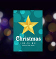 chrismtas greetings card with golden star vector image