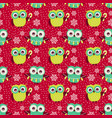 christmas seamless pattern with owls background vector image vector image