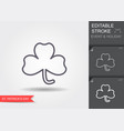 clover leaf line icon with editable stroke vector image vector image