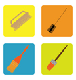 color icon set with brushes vector image vector image