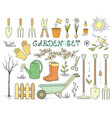 colorful spring garden tools set vector image vector image