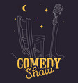 comedy show poster with bar chair and microphone vector image