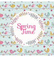 Cute Birds Card - Spring Time vector image vector image