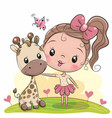 cute cartoon girl with giraffe vector image