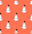 cute snowman merry christmas seamless pattern vector image vector image