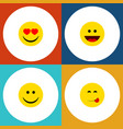 flat icon face set of delicious food love laugh vector image vector image