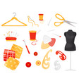 flat set of different sewing items vector image vector image
