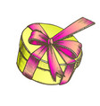 gift box in round shape with ribbon color vector image vector image