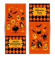 Halloween banners set on colors background vector image vector image