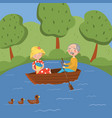 happy senior couple rowing a boat on lake vector image vector image