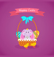 hare sitting in basket to easter eggs vector image vector image
