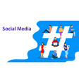 hashtag concept people using mobile vector image vector image