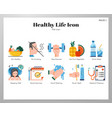 healthy life icons flat pack vector image