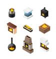 isometric fireplace icon set vector image
