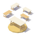 low poly isometric office table vector image