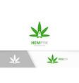 marijuana leaf and rocket logo combination vector image vector image