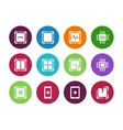Modern CPU circle icons on white background vector image vector image