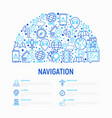 navigation and direction concept in half circle vector image vector image