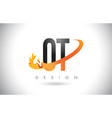 ot o t letter logo with fire flames design and vector image vector image