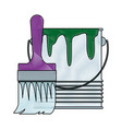 paint brush and bucket can construction vector image vector image