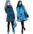 Pair of beautiful fashion girls vector image vector image