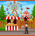 people working at the amusement park vector image