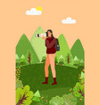 photographer lady with big camera lens nature vector image vector image