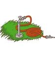 Red Garden Hose on A Green Grass vector image vector image