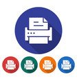 round icon of printer flat style with long shadow vector image
