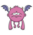 sad purple flying cartoon bat monster
