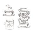 set of cups and mug vector image