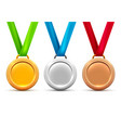 silver gold bronze medal award icon metal vector image