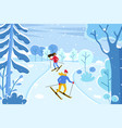 skiing couple at ski resort skiers in winter vector image