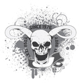 skull with grunge and scroll vector image vector image