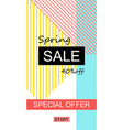 spring sale flyer in trendy memphis style vector image