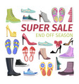 super sale end off season big shoes collection vector image vector image