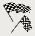 two racing checkered flags vintage concept vector image