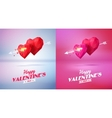 Two red origami heart pierced by an arrow Low-poly vector image vector image