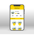 yellow social network profile ui ux gui screen vector image vector image