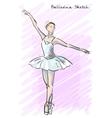 Cute Ballet dancer girl sketch style Old hand vector image