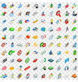 100 creative icons set isometric 3d style vector image vector image