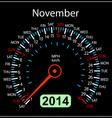 2014 year calendar speedometer car in November vector image vector image