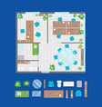 architecture office plan with furniture and part vector image vector image
