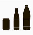 bottle icons set - metal can glass and plastic vector image