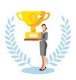 business man holding a trophy for top sale vector image