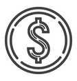 coin dollar line icon business and finance money vector image vector image