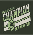 college league champion vector image vector image