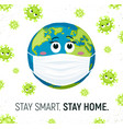 coronavirus and earth in mask vector image vector image
