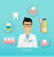dentist with dental care symbols teeth dental vector image vector image